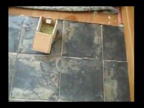 Porcelain tile Stair Landing installed on schluter ditra