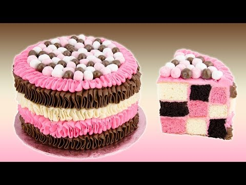Checkerboard Neapolitan Cake Recipe from Cookies Cupcakes and Cardio
