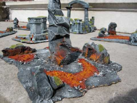 lava ruine terrain set for warhammer , lord of the rings