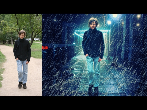 rain effect and change background | photoshop manipulation  tutorial