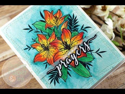 WPlus9 Sympathy Lilies | AmyR Sympathy Card Series 1