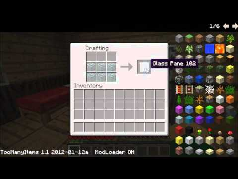 Minecraft: how to make (crafting table, glass pane and dispenser)