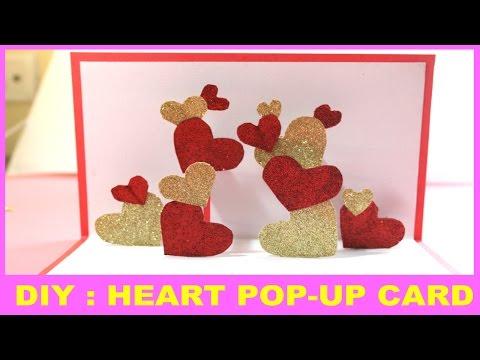 Heart POP-UP card   Valentine's day handmade greeting card