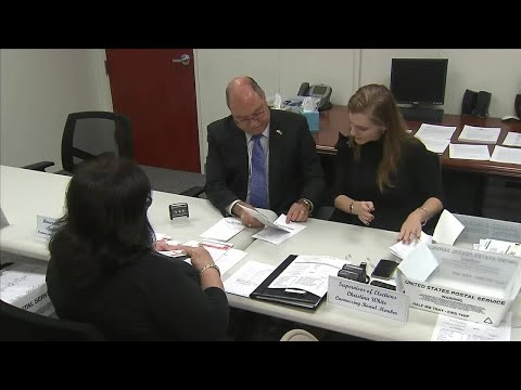 Miami-Dade elections workers look at absentee ballots with questionable signatures