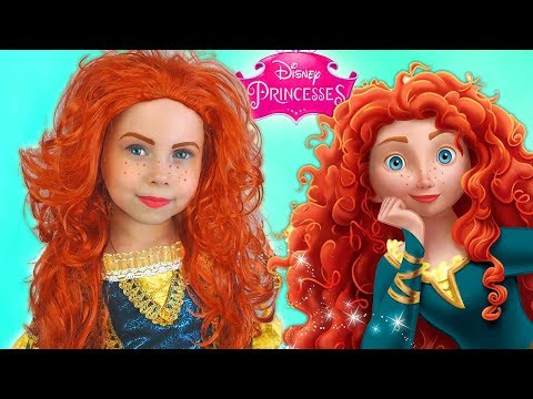 Kids Makeup Merida & Costume Disney Princess Alisa Pretend Play with DOLL in a Real Princess