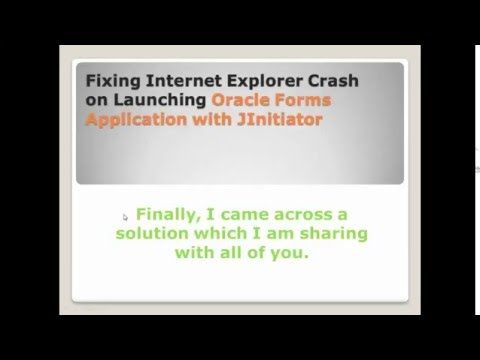 Fixing Internet Explorer Crash on Launching Oracle Forms Application with JInitiator