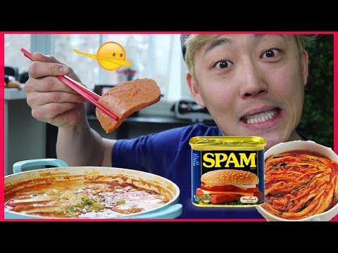 KIMCHI STEW ft. SPAM & SAUSAGE MUKBANG / 김치찌개 먹방