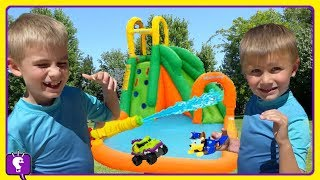 GIANT Water Slide! Toy Dogs Water Race with HobbyKids