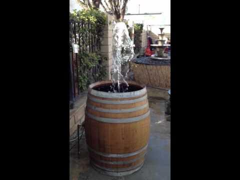 Wine barrel fountain 2