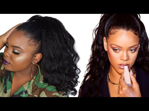 Rihanna Inspired Wavy High Ponytail on Short 4C Natural Hair | JOYNAVON