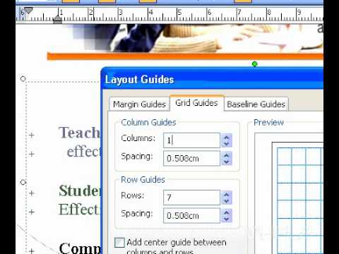 Microsoft Office Publisher 2003 Remove grid guides