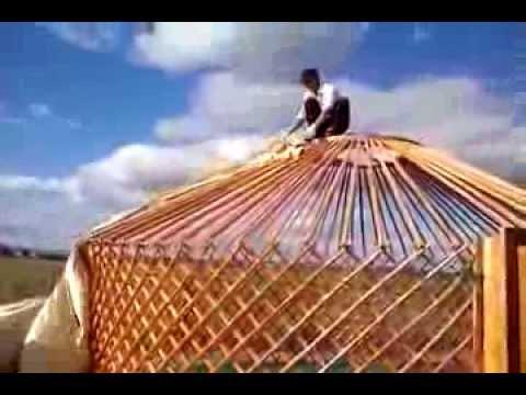 Mongolian yurt erecting in Mongolia