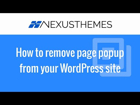 How to remove a page popup from your WordPress website