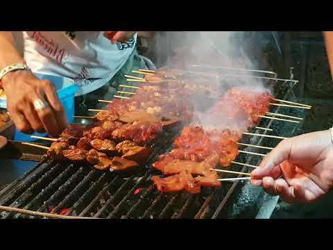 red pork skewers grill Thailand