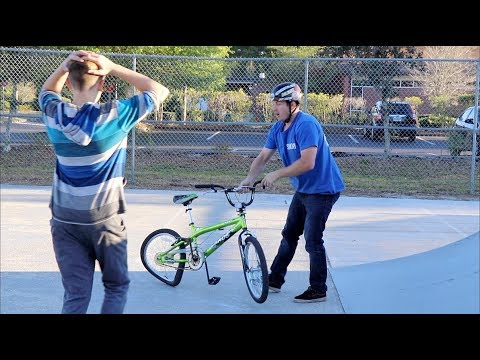 DESTROYING A KID'S BIKE & GIVING HIM A BRAND NEW ONE!