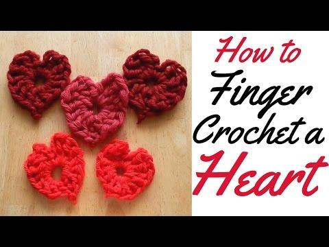 HOW TO FINGER CROCHET A LOVE HEART - FULL TUTORIAL