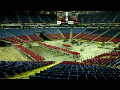 Arena Changeover from Ice to Basketball - True HD