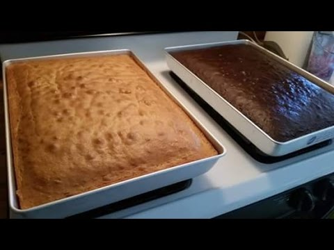 How many cake mix boxes do you need for a half sheet cake/how do I grease my baking sheets?