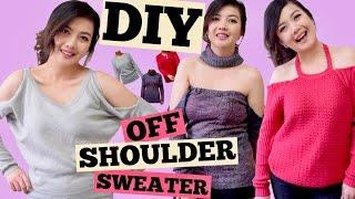 DIY OFF THE SHOULDER SWEATER/Cold Shoulder/Off Shoulder w/ Choker/Shoulder Cut Out/SEW/NOSEW/PART 3