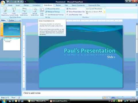 Using the Presenter's View in PowerPoint 2007