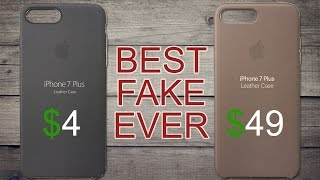 $4 Fake Apple iPhone 7 leather case vs $49 Apple iPhone 7 leather case