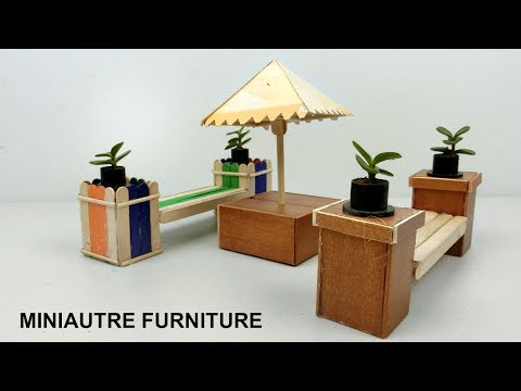 DIY Miniature Outdoor Furniture | Bench & Table - Popsicle stick Crafts