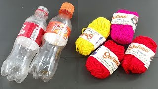 Beautiful flower vase out of waste plastic bottle & Color woolen | best out of waste