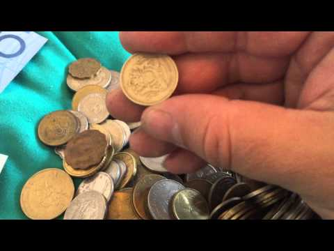 Goodwill thrift foreign money in jar score! Paper money and coins around the world