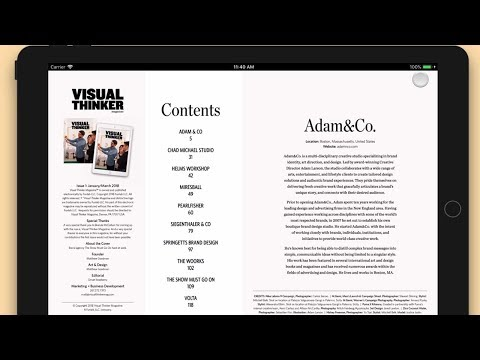 Visual Thinker Digital Magazine made with InDesign & in5