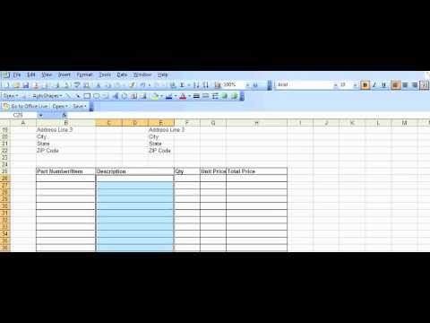 Example Purchase Order template created in Excel