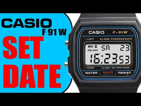 Casio F91 W How to set the date (4k tutorial)