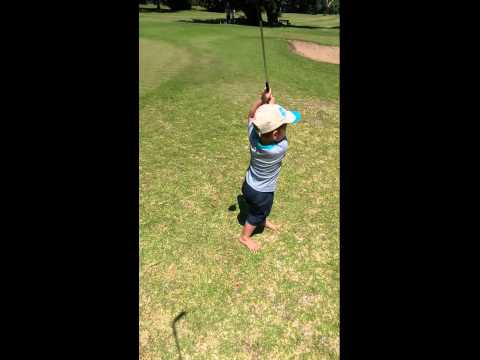 Two year old hits golf balls clean of the tee everytime!