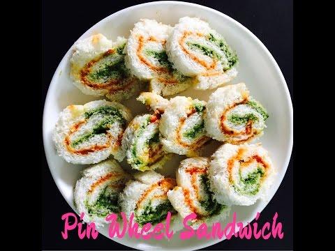 Pinwheel Sandwich Recipe | Veg Pinwheel Sandwich Recipe | Sandwich Rollup - Bread Sushi - Kid Recipe