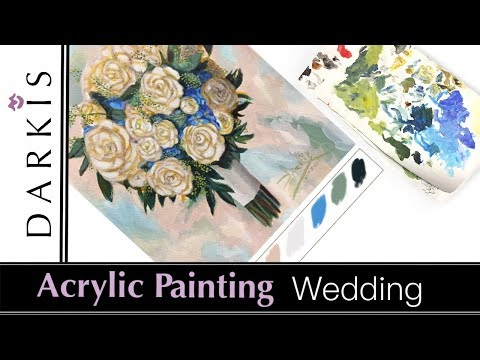 Acrylic Painting | Wedding Bouquet  | Tutorial | Time lapse