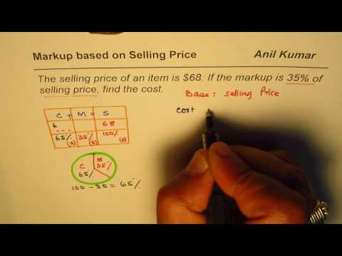 Markup based on Selling Price to find Cost