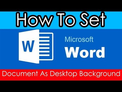 How to set Word 2016 Document as Desktop Background