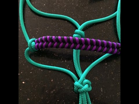 2 Paracord horse halter nosebands - 2 different simple weave (fishtail) nosebands.