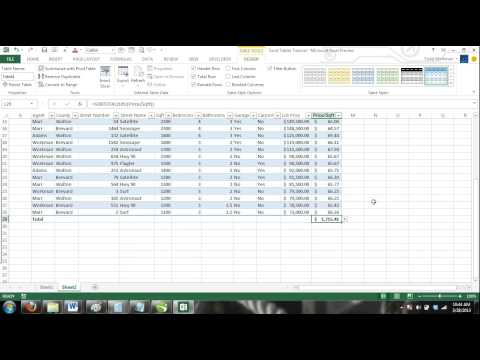 Excel 2013 Tutorial For Noobs Part 37: Excel Tables Total Row