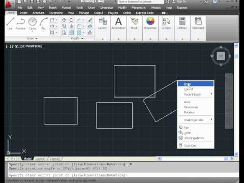 Learn AutoCAD 2012  Video Tutorial - basic training- use the rectangle tool