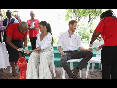 Rihanna and Prince Harry get an aids test in Barbados during 50th Independence Celebrations