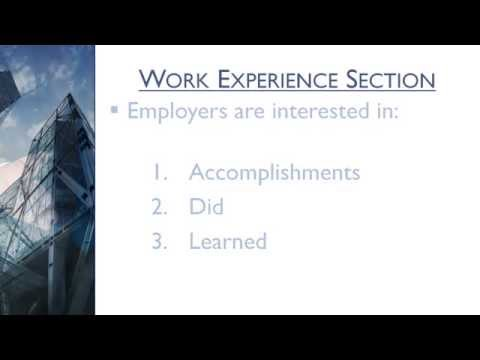 5 Minute Resume Writing Tips - Chapter 5: Work Experience