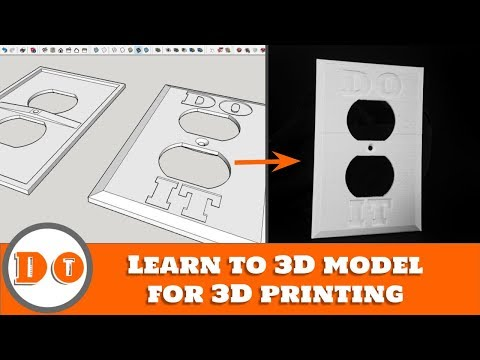 3D modeling Sketchup tutorial - Custom outlet wall plate