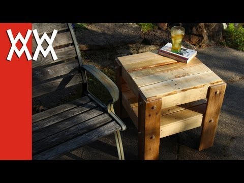 DIY rustic side table made from free pallets.