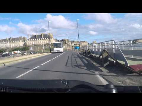 France by Car - St Malo - arrival in the Town centre from the south