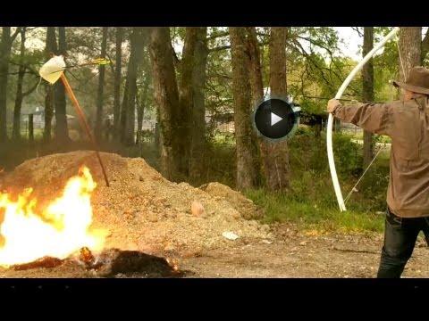 Spitfire broadhead arrow test over gas!  DANGER!