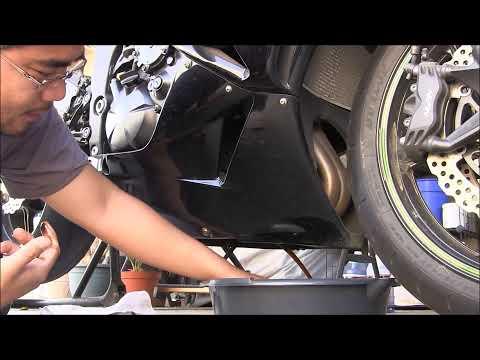 How To Change Motorcycle Oil DIY Sport Bike Kawasaki Ninjka ZX6R MONSTER Special Edition