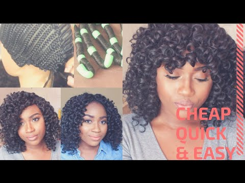Curly Crochet Wig Using Straight Xpression Hair | Hot Water Curling Method