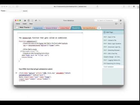 Web Theme - Simple Form Validation Using Javascript