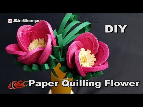 DIY Paper Quilling Flowers Tutorial | How to make Quilled 3D Flower | JK Arts 1273