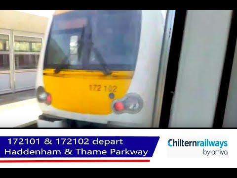 Chiltern 172101 & 172102 depart Haddenham & Thame Parkway - 24/8/18